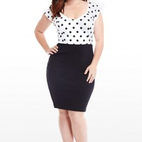 Plus Size Polka Dot Cross Back Dress | Fashion To Figure