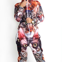 Cat Collage Belovesie Hooded Jumpsuit - READY TO SHIP