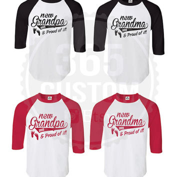 New Grandpa and New Grandma ( Raglan Unisex Tee - all individual prices 19.99 )