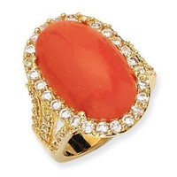 Gold-plated Sterling Silver Simulated Red Coral Cabochon & CZ Ring