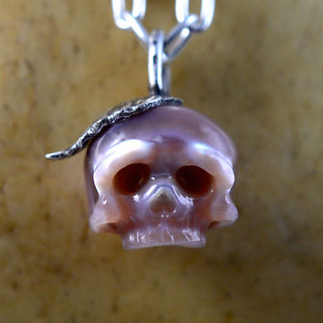 READY TO SHIP - Hand Carved Lavender Pearl Skull with Sterling Silver Leaf Bail - Skull Jewelry - Skull Necklace - Pearl Pendant - Unique