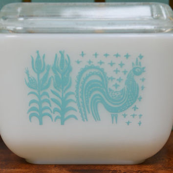Vintage Pyrex Glass Dish, Vintage  Turquoise Refrigerator Dish in Butterprint or Amish pattern, Milk Glass Pyrex number 501