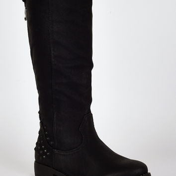 Studded Star Cut Out Design Leatherette Calf Boots