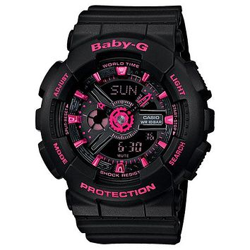 Casio Baby-G Black & Neon Pink Analog Digital Watch - 100 Meters - World Time