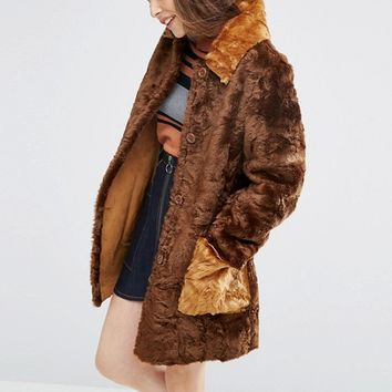 ASOS A line Coat in Faux fur with Contrast Pockets at asos.com