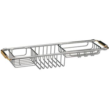 Bathtub Caddy Tray with Extending Sides Tub Tray Holder Rack Bath Storage, Brass