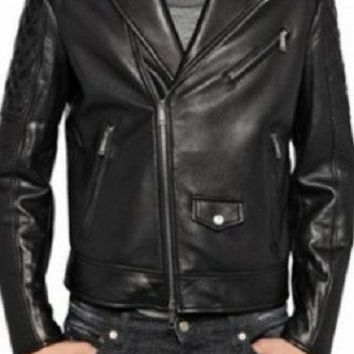 Men's Lamb Nappa Quilted Sleeves Biker Leather Jacket