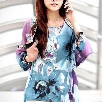 Chicloth Purple Ink Painting Floral Print Chiffon Blouse