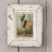 Vintage Flower Fairy art - Primrose Flower Fairy - Fairy art print,  Dictionary print art