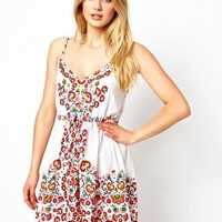 Oasis Flowered Placement Print Beach Dress at asos.com