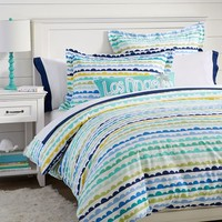 Bubble Stripe Flannel Duvet Cover + Sham
