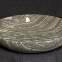 Handbuilted Black&White Marbled Stoneware Plate