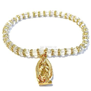Beautiful Stretchy  Clear Czech Beads Virgen Guadalupe Bracelet.