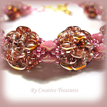 Pink Rowanberry Beadwork Bracelet with Super Duo Beads