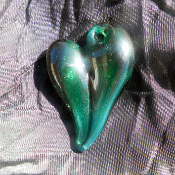 Glass Heart Pendent Sparkling Green Glass Heart by untamedrose