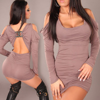 Black Long Sleeve Backless Clubwear One Piece Dress [6048179329]