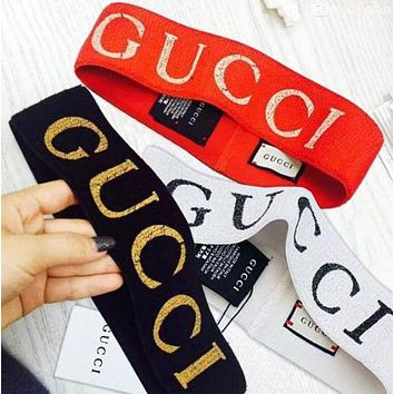 GUCCI Simple Letter Print Warm Sport Crochet Knit Headwrap Headband Head Hair Band I