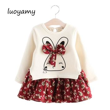 luoyamy Girls Cute Rabbit Long Sleeve Dress Flowers Printed 2018 Winter Autumn Baby Girl Thicker Princess Dresses