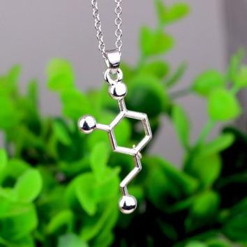 Dopamine Leather Molecule Chemistry Necklace YPQ0517 Gift for Friend Gold or Silver Beautiful Love Signal Jewelry
