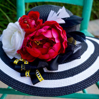 Tea party hat, Kentucky derby hat, church hat, little black dress, Black and white stripe wide brim straw hat. FREE DOMESTIC SHIPPING!