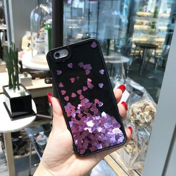Love sequins flow sand mobile phone shell soft side flash powder liquid protection case for iphone6plus iphone7