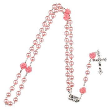 Fashion Round Beads Red Flower Catholic Rosary Necklacey