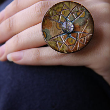 Silver/Blue Stone Hand Carved Painted Coconut Shell Ring