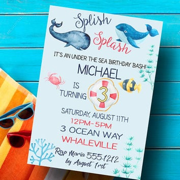 Under the sea invitation - Under the sea party invitation - Nautical party invitation - Boys party invitation - Nautical birthday