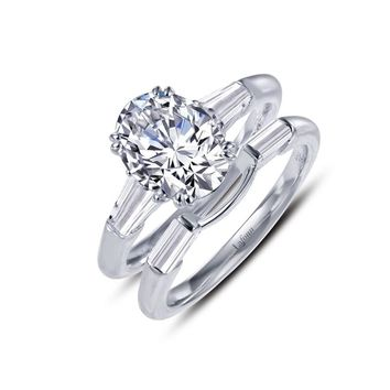 Lafonn Sterling Silver Oval Simulated Diamond Ring and Band Set