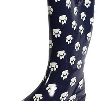 Sunville - Womens Paw Print Rainboot, Navy 38812-9B(M)US