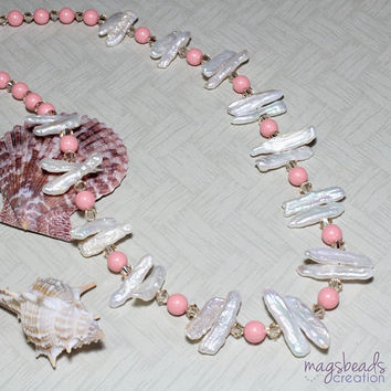 Pink Coral Swarovski Pearls and Stick Freshwater Pearls Beaded Necklace, June Birthstone, Beach, Summer Love Jewelry