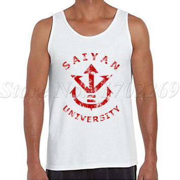 Saiyan University logo vintage printed Men fashion tank tops retro style sleeveless casual Vest hipster fitness singlets