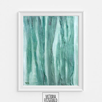 13x19 in Fine Art Print of original painting 'Demulcent', Abstract Art, Emerald Green Painting, Mixed media State of Being Alphabet Series.