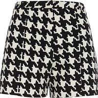 River Island Womens Black and white houndstooth shorts