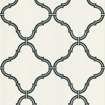 Sample of Estate Moroccan Grate Wallpaper in Black and White by Brewster Home Fashions