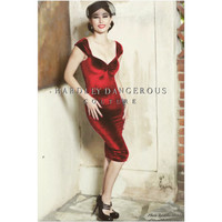 Cranberry Red Velvet CHERRYBOMB Pencil Dress, ROCKABILLY Wiggle 1950s Style Cocktail Party Pin Up