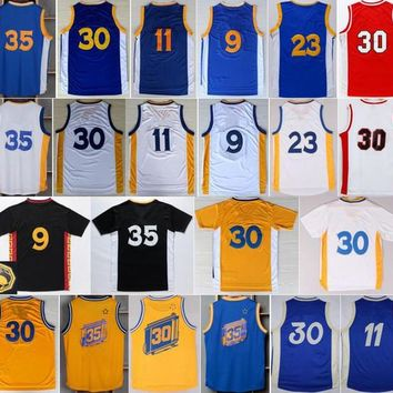 Cheap Basketball Jerseys #30 #35 #9 #11 #23 With Player Name Team Logo Sport Sportswear Shirt Blue Black Yellow Color Free Shipping