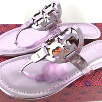 NIB Tory Burch Miller Sandals Thong Flip Flop Mirror Metallic Rosa 7.5