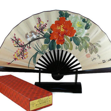 Vintage, Hand Painted, Silk, Folding Hand Fan, Artist Signed, Bamboo,   Lacquered, With Display Stand