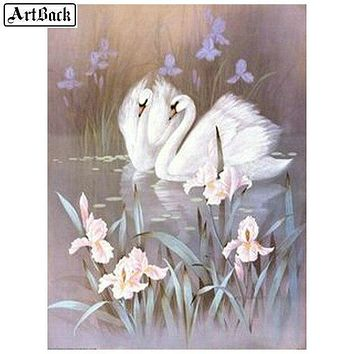 5D Diamond Painting Two Swan Iris Kit
