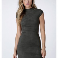 Fit For Success Suede Midi Dress