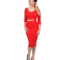 1960s Style Red Crop Top & Pencil Skirt Set