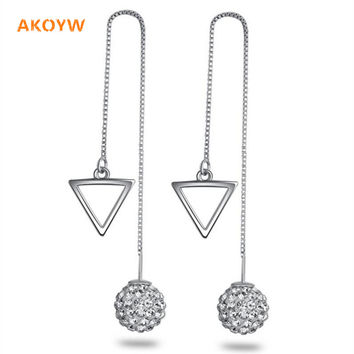 Earring tassel Long section triangle Shambhala Crystal 10MM Ear line Retro Silver products jewelry