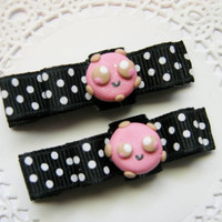 Kawaii Pink Cookie Hair Clips Baby Bows for Babies Girls Teens and Adults Kawaii Fashion Kawaii Hair Clips Baby Bows