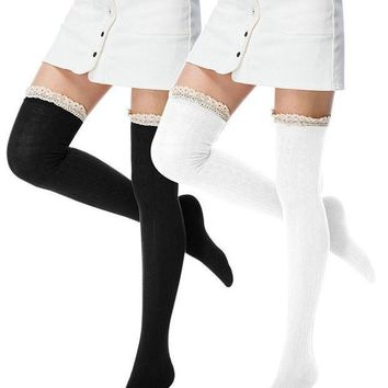 I Wish Women's Lace Trim Over The Knee Thigh High Socks