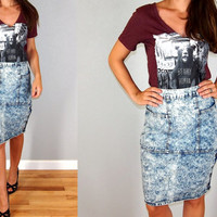 Vintage 80s Acid Washed Denim Skirt, Knee Length Pencil Skirt, Size Small