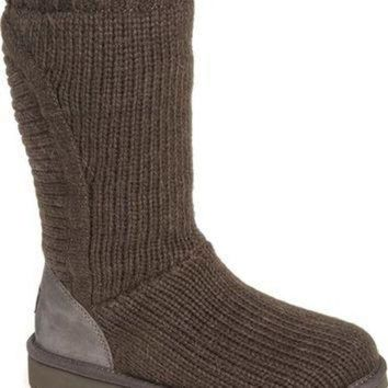 CREY1O UGG? 'Capra' Ribbed Knit Genuine Shearling Lined Boot (Women) | Nordstrom