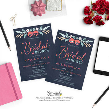 Printable Bridal Shower Invitation, Chalkboard Bridal Shower Card, Floral Bridal Shower Invite, Printable Bridal Brunch Invitation