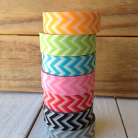 Chevron Washi Tape Choice of Color Black Gray Green Red Orange Pink Turquoise