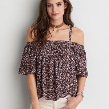 AEO Cold Shoulder Top, Burgundy
